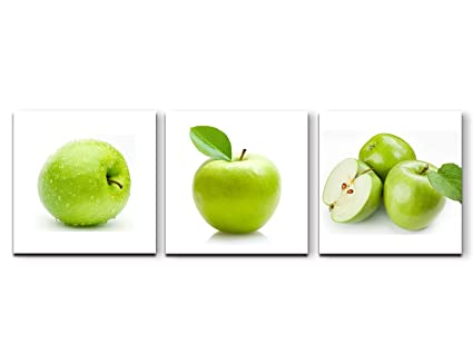 Green Apples Painting On Canvas 3 Panel Wall Decor Forming A Background Wall  Art Prints Framed