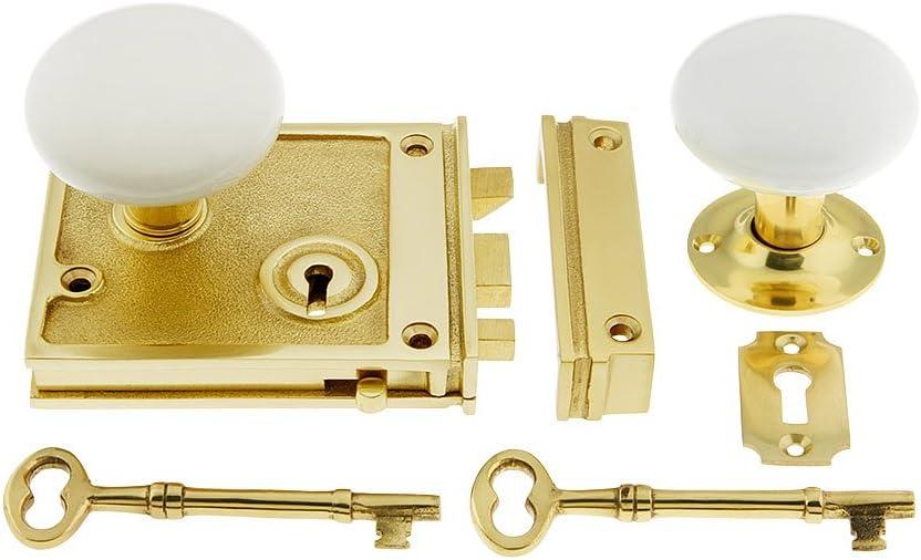 1 Pair Victorian Rim Knobs /& Rim Lock Polished Brass or Chrome inc 2 Keys