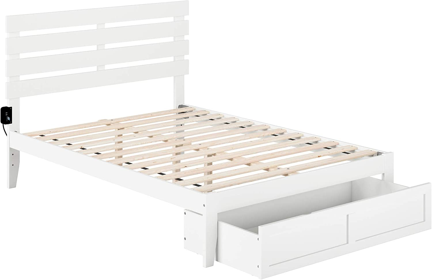 Atlantic Furniture Oxford Bed with Foot Drawer and USB Turbo Charger, Full, White
