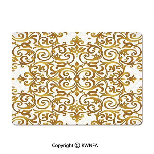 Waterproof Keyboard pad,Victorian Golden Lace Antique Baroque Pattern Oriental Ottoman Royal Square Pattern(8.3