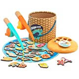 TOP BRIGHT Montessori Toddler Fishing Game - Kids Wooden Magnetic Fishing Toys Gifts for 3 Years Old Girls Boys