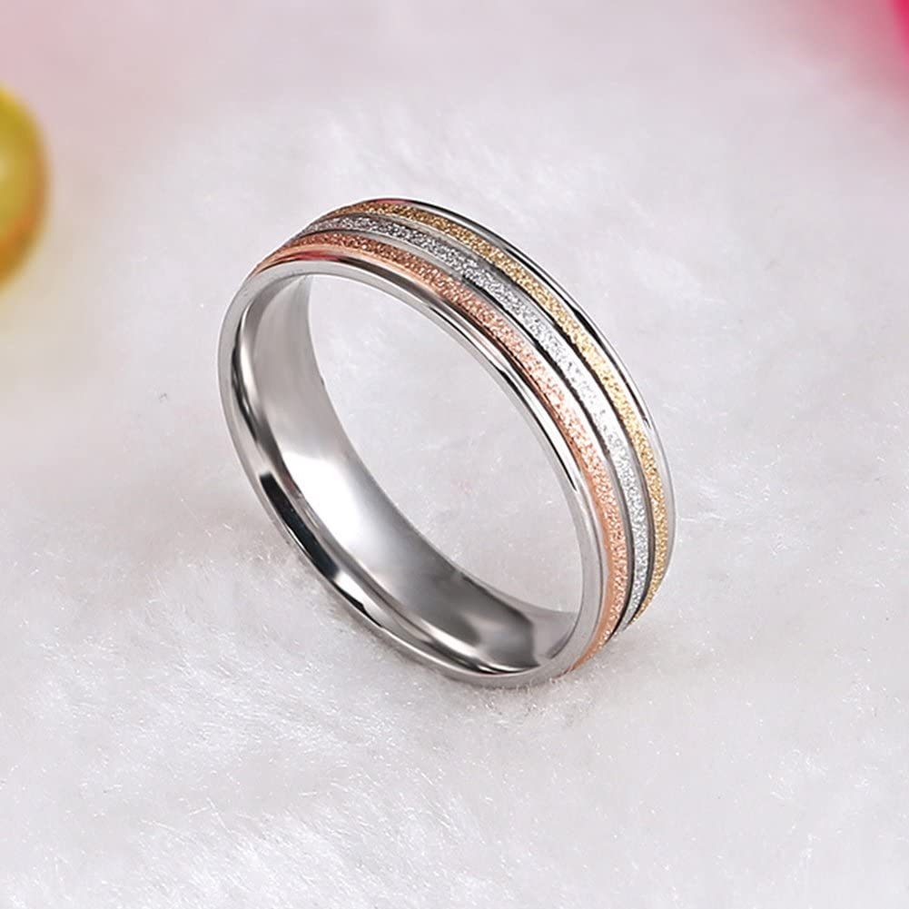 JAJAFOOK 5MM Unisex Stainless Steel Finger Rose Gold Silver Gold Plated Brushed Matte Rings,Wedding Rings