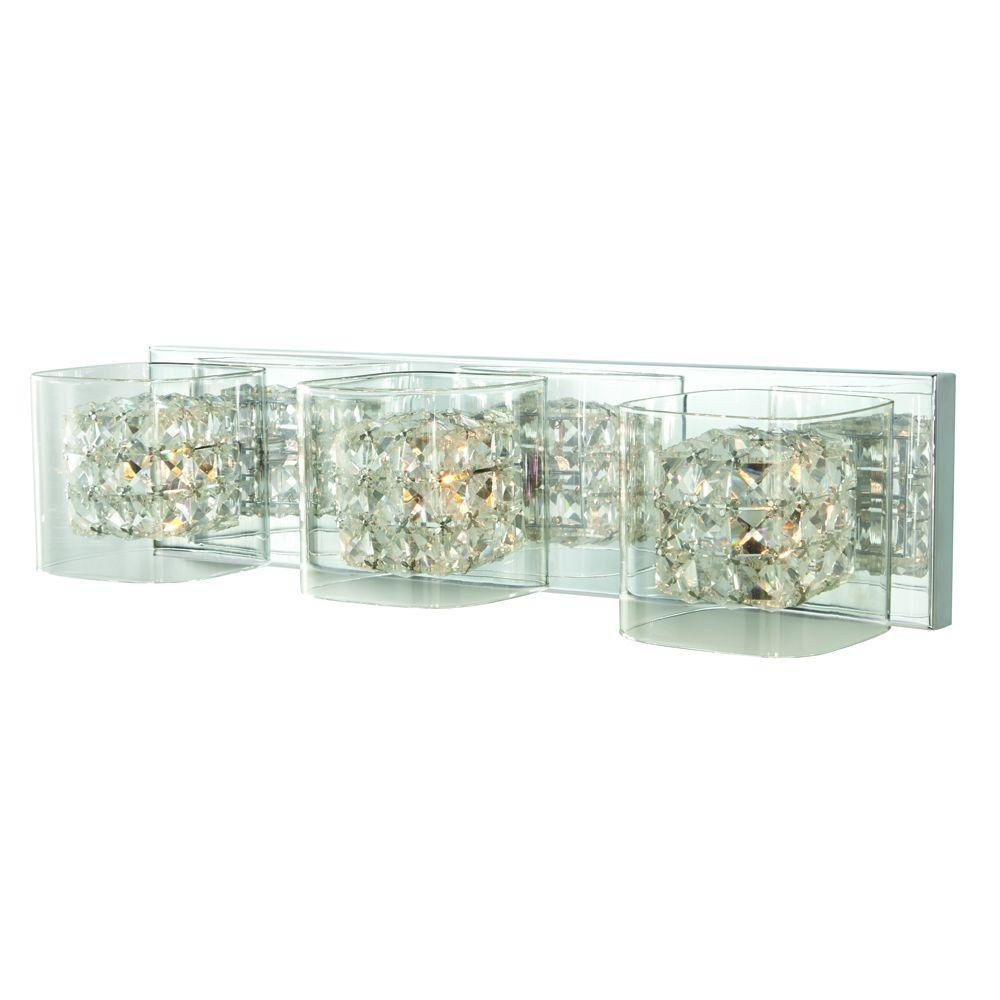 Home Decorators Collection Crystal Cube 3-Light Polished Chrome Vanity Light