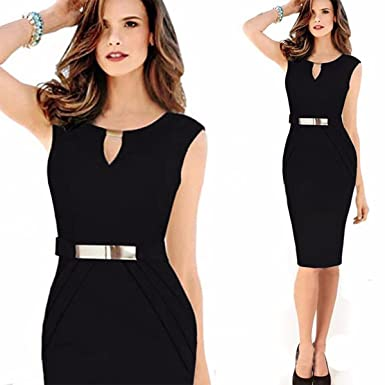 Ashoreshop Womens Summer Office Formal Interview Dress Black Office
