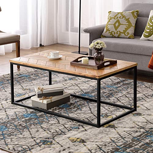 Lonma Rectangular Coffee Table Easy Assembly Modern Industrial Tea Table Cocktail Table for Living Room with Chevron Pattern & Metal Frame (Oak)