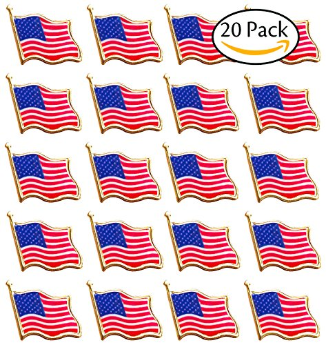Bassion 20 PCS American Flag Lapel Pin United States USA Waving Flag Pins - Flag Design Lapel Pin