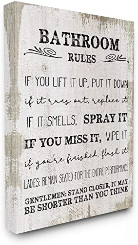 Stupell Industries Bathroom Rules Funny Word Wood Textured Design Canvas Wall Art