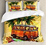 Ambesonne Surf Duvet Cover Set, Hippie Classic Old Bus with Surfboard Freedom Holiday Exotic Life Sketchy Art, Decorative 3 Piece Bedding Set with 2 Pillow Shams, Queen Size, Yellow Orange