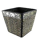 chantubtimplaza Waste Basket Thai Elephant Silk Reed Paper Bin Home Decor Black Color