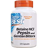 Doctor's Best Betaine HCI Pepsin & Gentian Bitters, Digestive Enzymes for Protein Breakdown & Absorption, Non-GMO, Gluten Fre