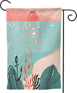 Hand drawnabstract cartoon summer time graphic s art template banner with ocean beach landscape,Welcome Garden Flag Double Sided Outdoor Decoration sunset view with cop space place for our design.