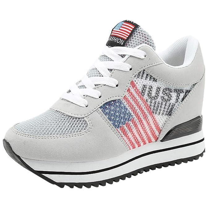Zapatillas Deportivos Mujer Hombers Cordones Running Zapatos De Plataforma Fondo Grueso Zapatillas De Deporte Transpirables Casual Zapatos Planas: ...