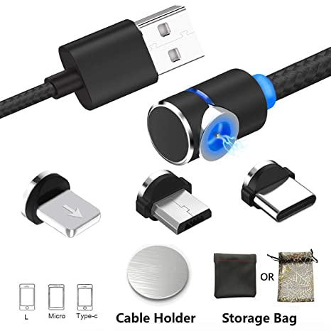 Cable de Carga magnético USB 3 en 1 Cable Cargador con LED para Android, múltiples adaptadores de Carga Micro Tipo C