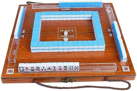 GWJ Mahjong Juego, Mini portátil de 144 Mahjong Juego Mah Jong Mesa de cumpleaños de Navidad Tradicional Juego de Viaje Plegable Ideal Mahjong Juego de Regalo para los niños: Amazon.es: Hogar