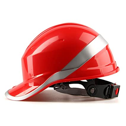 KUNSE Diamond V Cascos Seguridad Trabajo Punto 8 Construcción Ventilada Trinquete Cascos Rojo