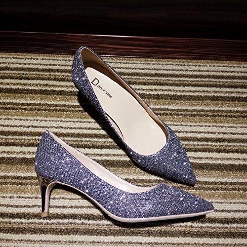 Xue Qiqi Zapatos de la Corte Zapatos de Tacón Alto con Punta Gris Hembra con Zapatos de Zapatos Salvajes de Boca Baja, 32, Gris Plateado 6CM 32|Gris plateado 6C