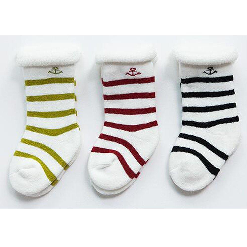 TuuTyss 6 Pack Toddler Baby Terry Socks,Cotton Socks-1-3 Years Old,Stripe