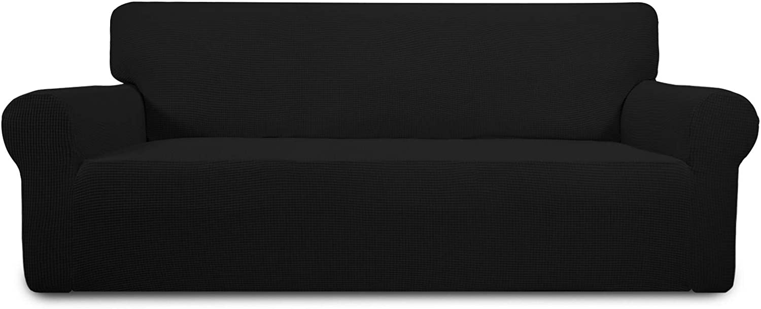 PureFit Stretch Oversized Sofa Slipcover – Spandex Jacquard Non Slip Soft Couch Sofa Cover, Washable Furniture Protector with Non Skid Foam and Elastic Bottom for Kids (Oversized Sofa, Black)