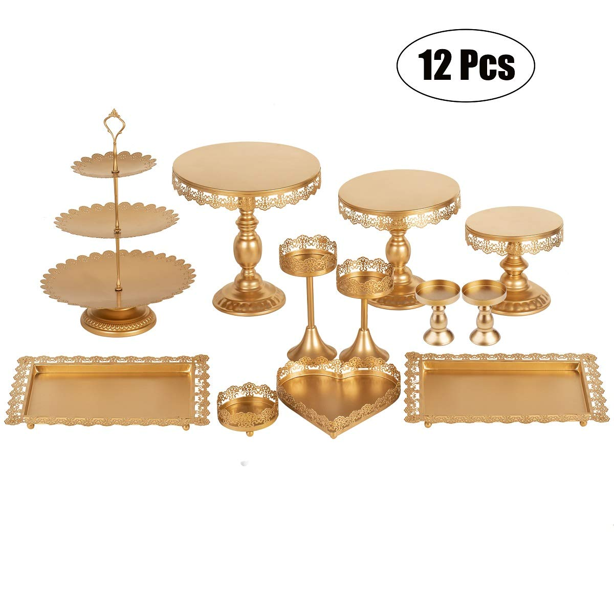 Set of 12 Pieces Golden Cake Stand and Pastry Trays Metal Cupcake Holder Fruits Dessert Display Plate for Baby Shower Wedding Birthday Party Celebration by Gluinor Party
