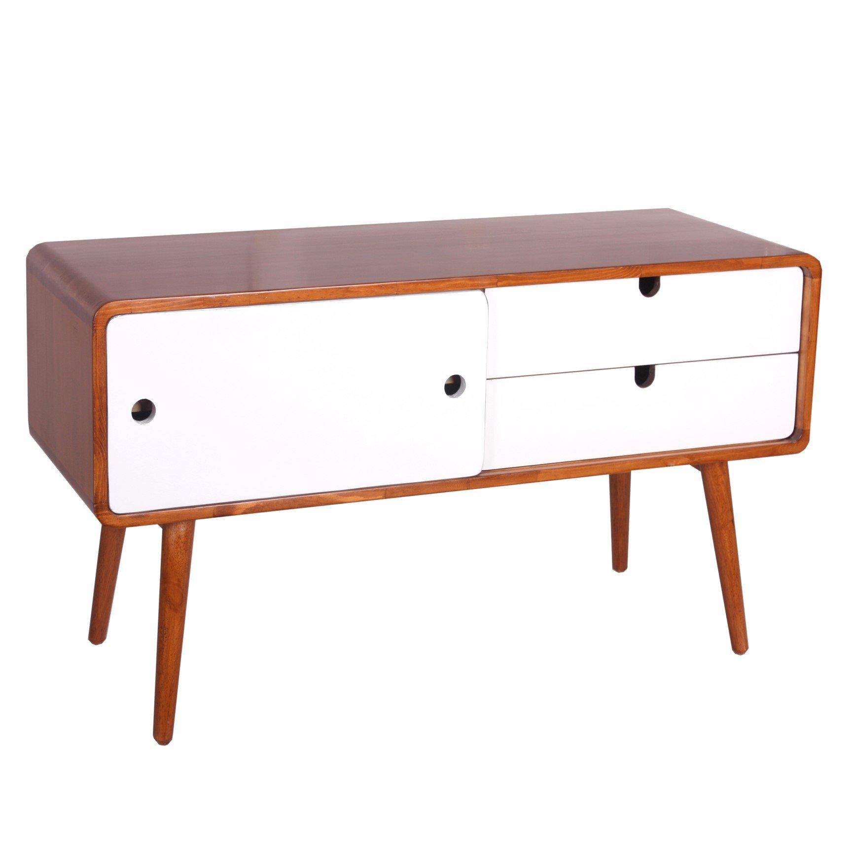 Porthos Home CB188D WHT Solstice Media Table, Large, White by Porthos Home