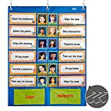 "Chores Responsibility Pocket Chart with 3 Door Hangers, 20 Double Side Illustrated Activity Cards, 40 Name Cards, All Dry Erasable(22"" X 29.5""), Blue"