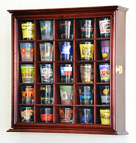 25 Shot Glass Shotglass Display Case Holder Cabinet Wall Rack Cherry Finish