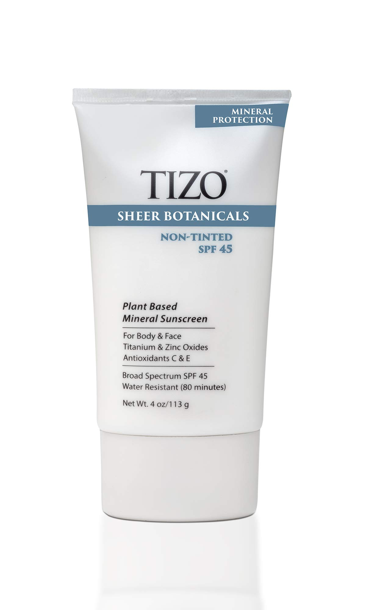 TIZO Sheer Botanicals Mineral Sunscreen for Face and Body with SPF 45, Non-Tinted, 4 Oz.