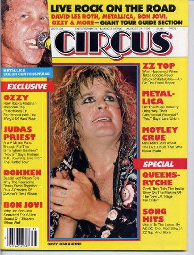 Circus Magazine OZZY OSBOURNE ZZ Top METALLICA CENTERFOLD Dokken BON JOVI August 31, 1986