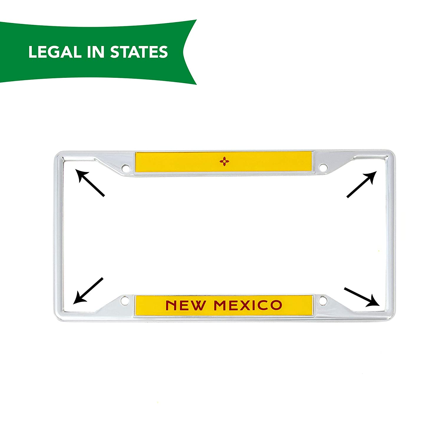 Desert Cactus State of New Mexico Flag License Plate Frame for Front Back of Car Vehicle Truck