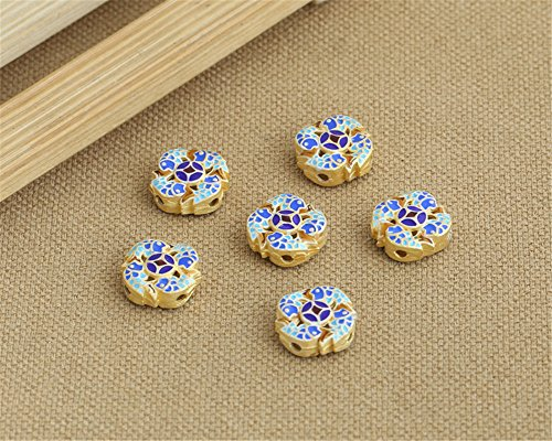 Luoyi 1pc Golden Plated Sterling Silver Enamel Flat Bead, Round with Carp, Cloisonne Spacer Bead, 15*6mm, Hole: 2mm - Flat Beads Round Cloisonne