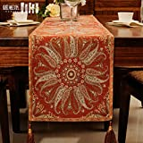 JINGJIE Table Runners chinese modern jacquard coffee table tv cabinet wedding banquet decoration-B 40x215cm(16x85inch)