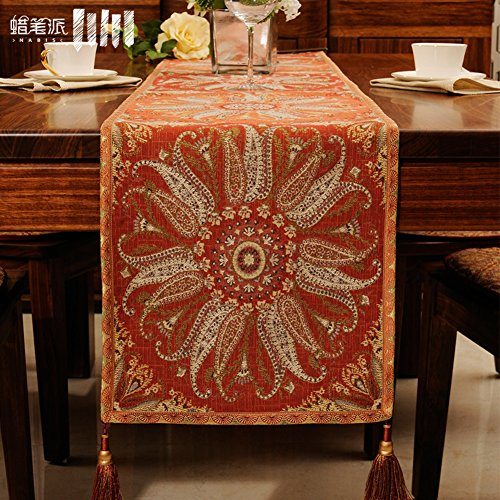 JINGJIE Table Runners chinese modern jacquard coffee table tv cabinet wedding banquet decoration-B 40x215cm(16x85inch) by JINGJIE