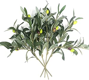 Artificial Olive Plants Branches Fake Fruits Silk Plants Branch Leaves ndoor Outside Home Garden Office Verandah Decor (4 Pcs)