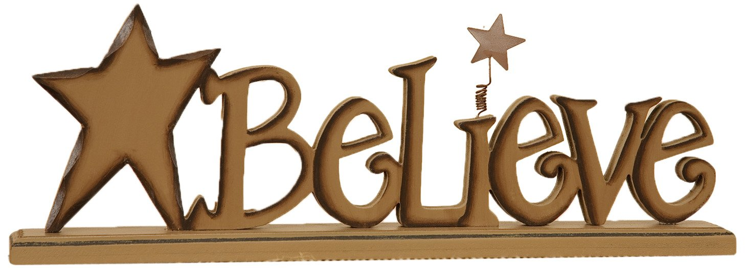 Your Hearts Delight Believe Wooden Word Sign with Base, 12-1/2 by 4-Inch 8W1202