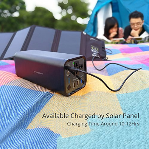 Portable Solar Generator Power Source - 41600mAh 154Wh Camping CPAP Battery Pack with 110V Silent AC Outlet Inverter QC3.0 Emergency Backup Power Supply Station for Laptop iPhone Tablet Refrigerator