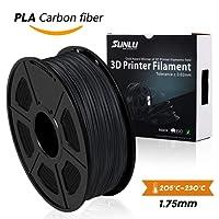 SUNLU transparent PLA Carbon Fiber 3D Printer Filament, PLA Carbon Fiber Filament 1.75 mm, 3D Printing filament Low Odor Dimensional Accuracy +/- 0.02 mm, 2.2 LBS (1KG)