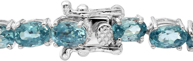925 Sterling Silver Platinum Plated Blue Zircon Bridal Tennis Bracelet Jewelry 7.25 Ct 17.2