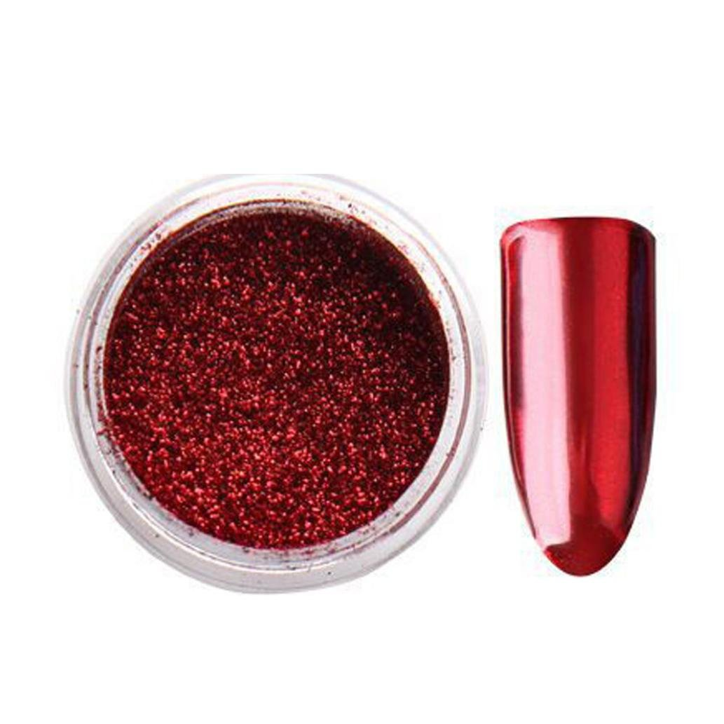 Women's Glitter Nail Mirror Powder , Iuhan Glitter Aluminum Flakes Magic Mirror Effect Powders Nail (Red)