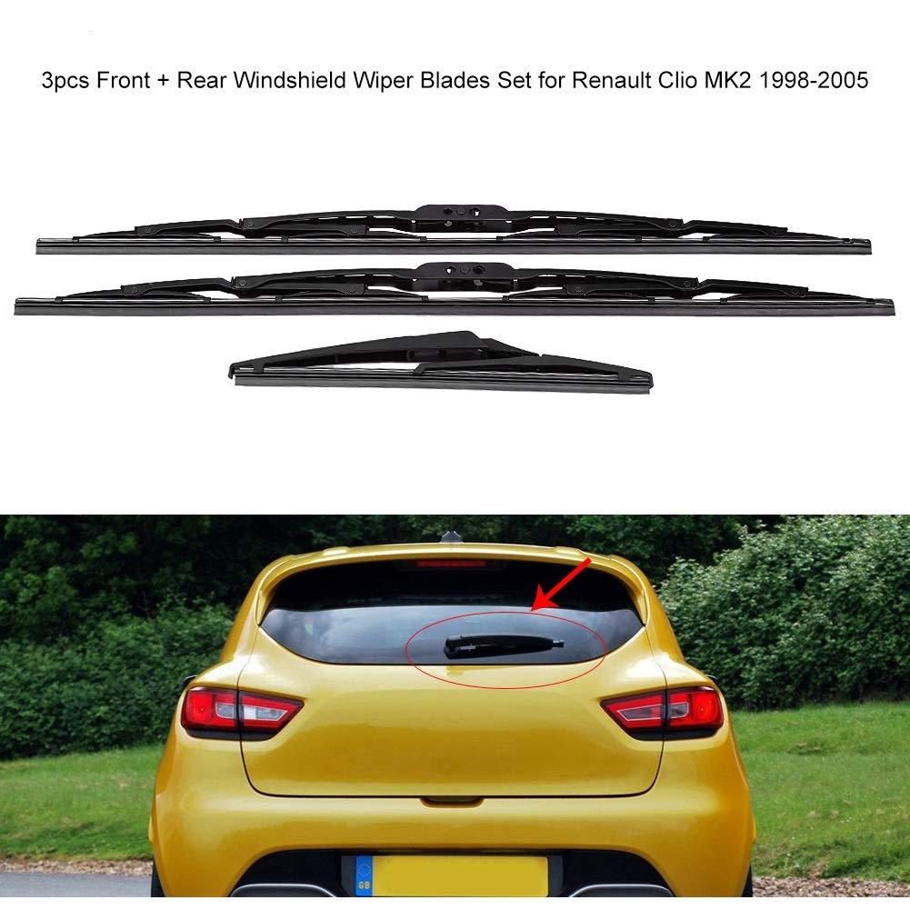 Limpiaparabrisas - Juego de cuchillas de limpiaparabrisas de parabrisas trasero de 3 piezas delantero Compatible con Renault Clio MK2 1998-2005, ...