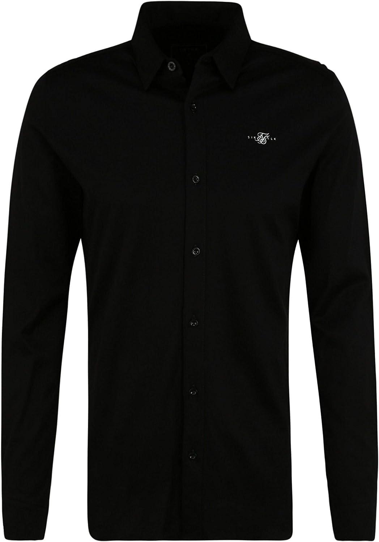 SilkSilk - Camisa de manga larga de algodón, color negro ...