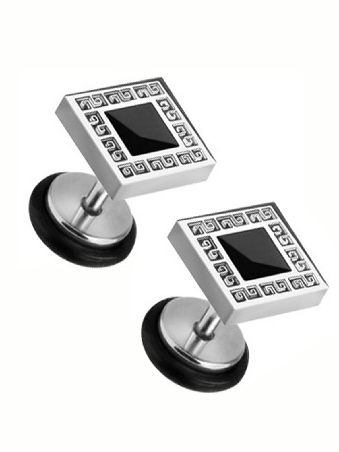 Silver Tone Designer Fashion Barbell Ear Plug Stainless Steel Barbell (316L Surgical Steel) Square Earring Body Piercing (1pc)