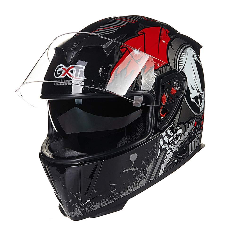 Qianliuk 358 Männer Motorrad-Motorcross Helm Herbst Winter Doppel-Lens Anti-Fog Helme Full Face Motorbike Cap Helm blau Rutschen 54-60cm cm