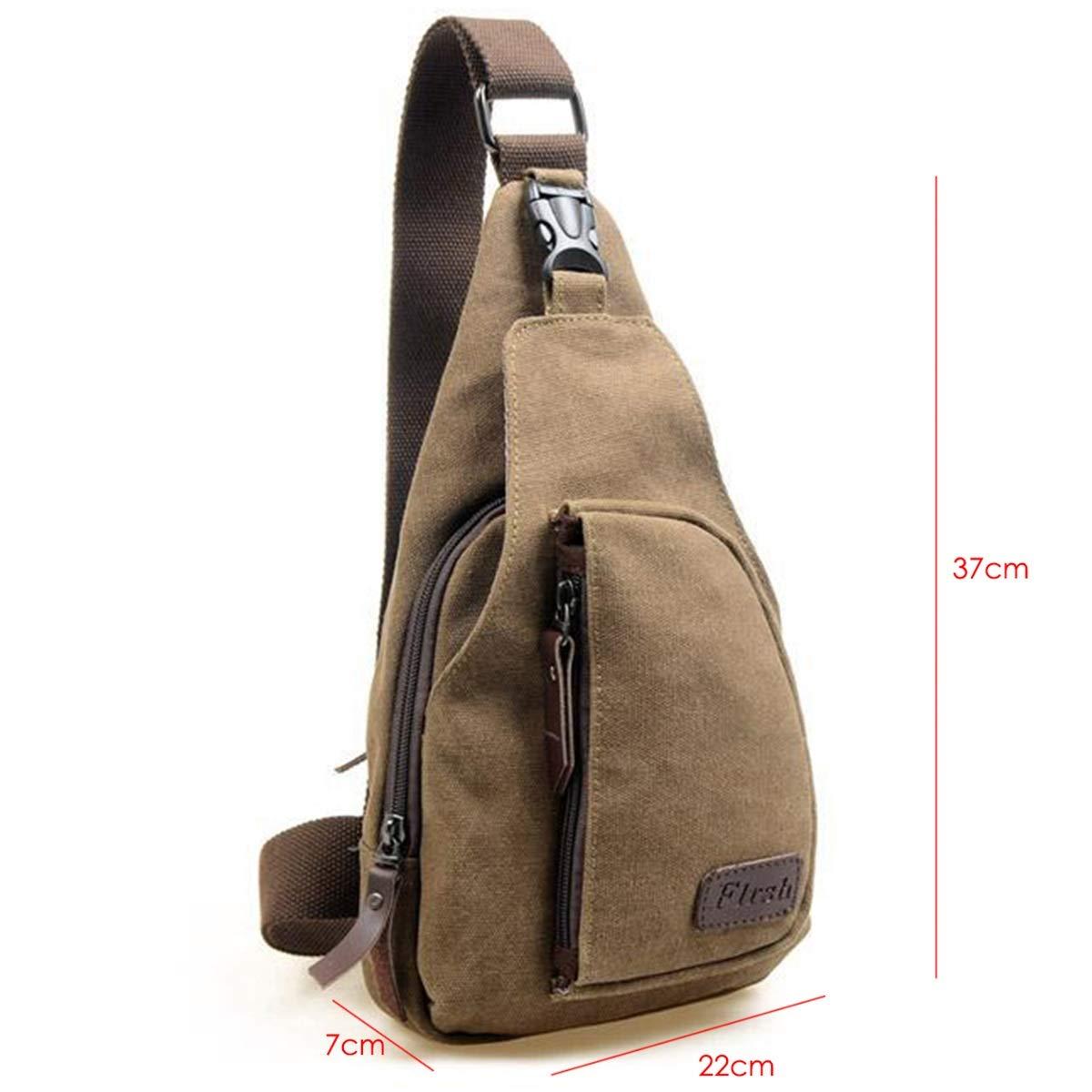 Yunhany Direct Vintage Mens Military Canvas Satchel Outdoor Shoulder Bag Messenger Travel Bag-Two Sizes Color : Black, Size : L