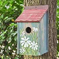 Gardirect Retro Painted Bird House, Wooden Bird Nesting Box