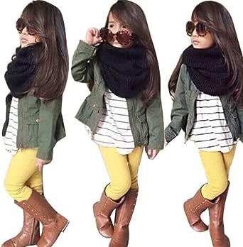 Lonsbo Girls Fall Winter Warm Long Sleeve Tops+Coat+Pants Clothes Set