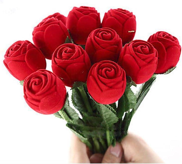 San Valentín Rosa del anillo de la joyería de la caja de regalo con pendientes, color rojo