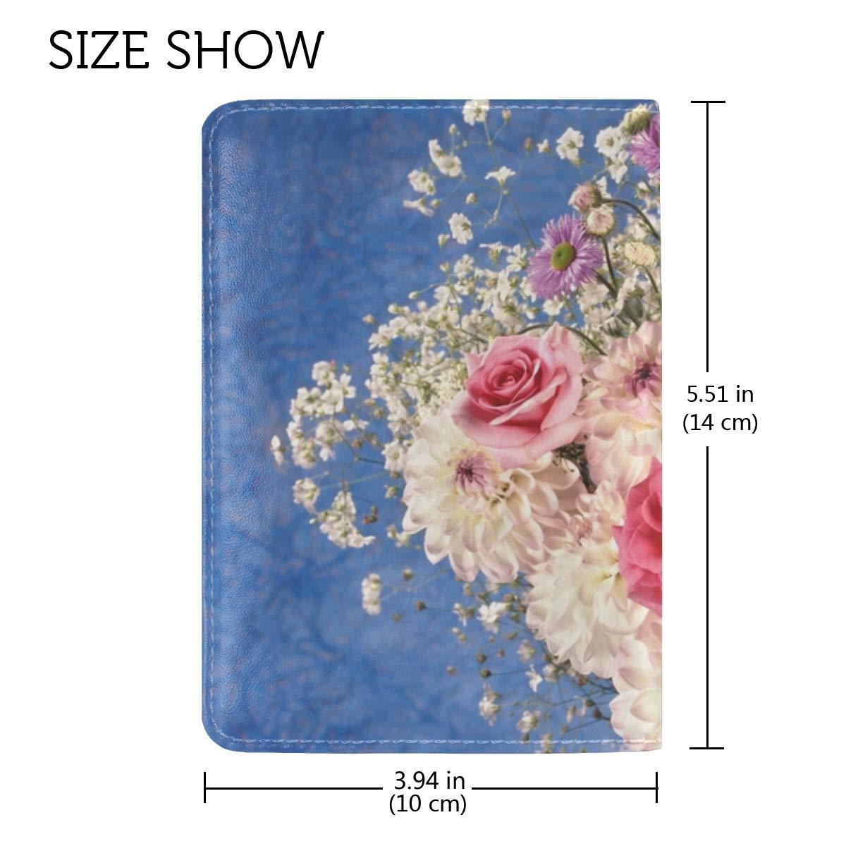 Roses Dahlias Flowers Bouquet Vase Decoration Elegant Leather Passport Holder Cover Case Travel One Pocket