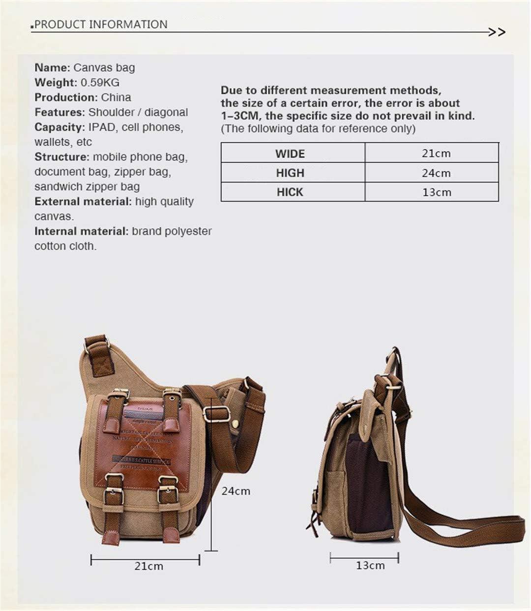 Messenger Bags Over The Shoulder Bag Military Canvas Leather /& Canvas Military Bag Black
