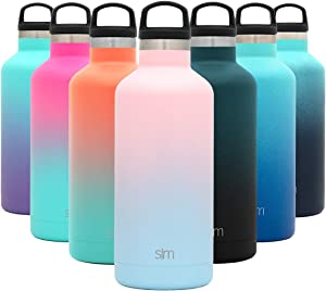 Simple Modern 32oz Ascent Water Bottle - Hydro Vacuum Insulated Tumbler Flask w/Handle Lid - Pink Double Wall Stainless Steel Reusable - Leakproof: Ombre: Sweet Taffy