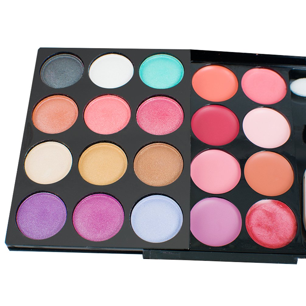 Pevor Makeup Palette Kit 24 Colors Eyeshadow,8 Colors Lipstick,4 Colors Blusher,2 Dry Powder And 1 Wet Powder,3 Makeup Brush,1 Powder Puff,1 Makeup Mirror,Three Layers Face Makeup Palette for Travel